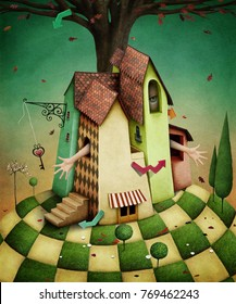 Conceptual illustration for  fairy tale Wonderland house with  garden and  girl