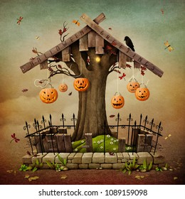 Conceptual illustration with Gravestone for Halloween for greeting card or poster.