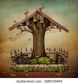 Conceptual illustration with Gravestone for Halloween for greeting card or poster