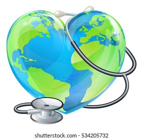 Conceptual illustration of a heart planet earth with a stethoscope wrapped around it.