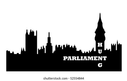 Conceptual illustration of hung Houses of Parliament after general election, Westminster, London, England.