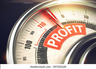 Conceptual Illustration of a Scale with Red Needle Pointing to Maximum of Profit. Horizontal image. 3D of a Dial with Red Needle Pointing the Text Profit. Business Concept. 3D.