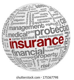 Conceptual illustration of tag cloud containing words related to insurance, property, financial, health and home security, risk management in insurance industry, etc; in the shape of a sphere