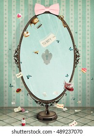 Conceptual illustration vintage oval mirror for greeting card or any design.