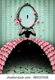 Conceptual illustration woman in her hand mirror with keyhole for greeting card or any design