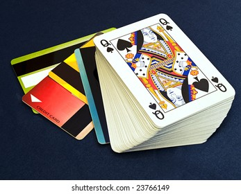 Conceptual image about on line gambling on a loan.