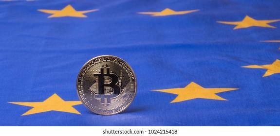 Conceptual image of bitcoin against European Union flag