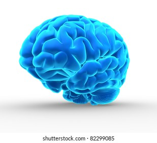 Conceptual image of a blue brain over white - 3d render