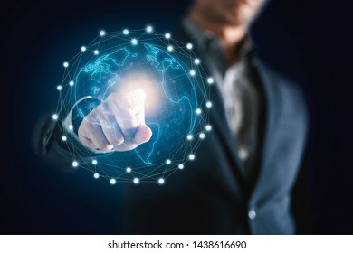 Conceptual image of business man with  social connection , online network technology business.