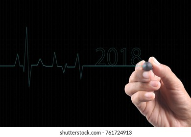 Conceptual image for business progress in 2018. happy new year