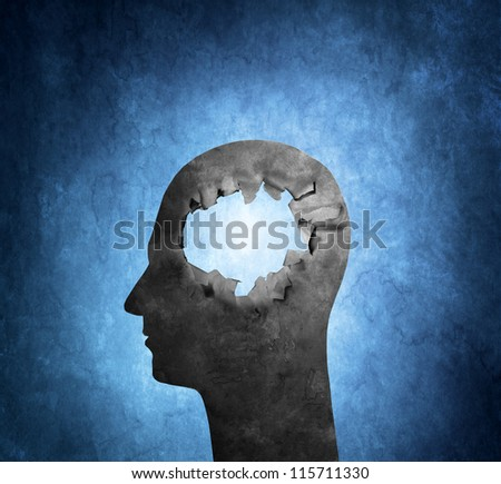 Conceptual image of a cardboard head with a hole.
