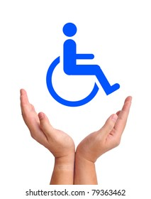 Conceptual image, care for handicapped person. Two hands and wheelchair icon on white background.