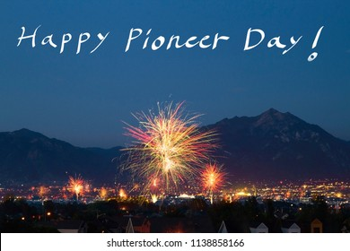 Conceptual image of celebrating Pioneer Day with fireworks and Wasatch mountains in Utah. Pioneer Day is an official holiday celebrated in Utah, USA.