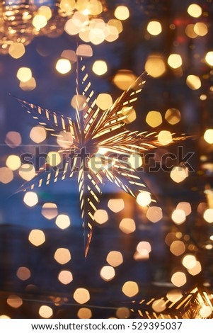 Conceptual image Christmas lights. Background of blurry lights out of  focus. Texture for decoration - Conceptual Image Christmas Lights Background Blurry Stock Photo