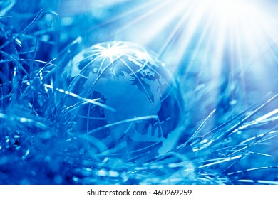 conceptual image of a close up glass globe