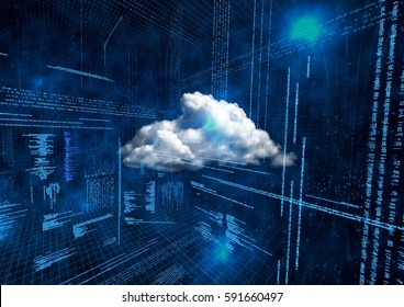 Conceptual image of cloud computing against binary background