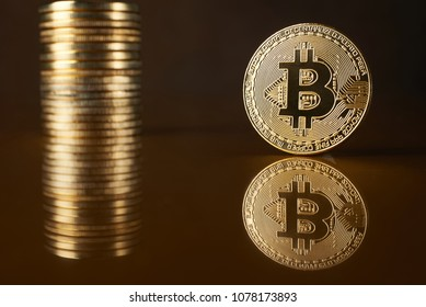 conceptual image for crypto currency. Bitcoin gold coin.