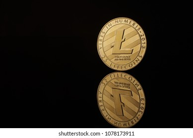 conceptual image for crypto currency. Litecion gold coin.