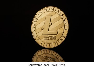 conceptual image for crypto currency. Litecoin gold coin.