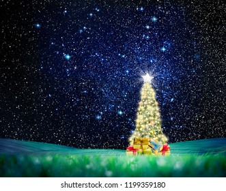 Conceptual image of Decorated Christmas tree on green landscape over night sky with stars and galaxies.