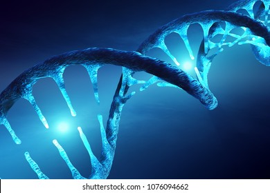 Conceptual image of DNA structure with illuminated molecules illustrating genetic alteration, manipulation or modification. 3D rendering artwork