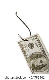 Conceptual image of dollar banknote caught by fishing hook