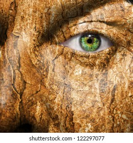 Conceptual image of a face with a bark brown skin