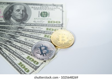 A conceptual Image fake of USD dollar with Bitcoin replica on white isolated background