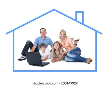 Conceptual image of family at home. Isolated On White Background