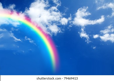 A conceptual image featuring a rainbow in the sky.
