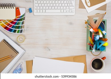 Conceptual image of graphic designer workplace, top view