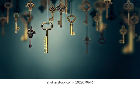A conceptual image with hanging keys and one shining key