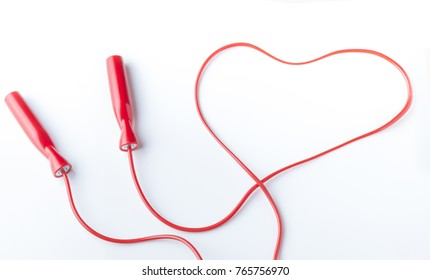Conceptual image of a heart-shaped gymnastic rope
