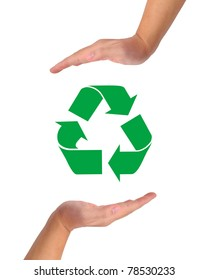 Conceptual image, help and care for recycling. Two hands isolated on white with recycle icon in the middle.