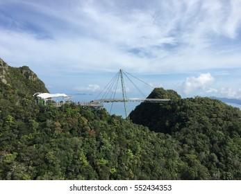 Conceptual image of holiday - Beautiful aerial views of Sky bridge, Langkawi, Malaysia