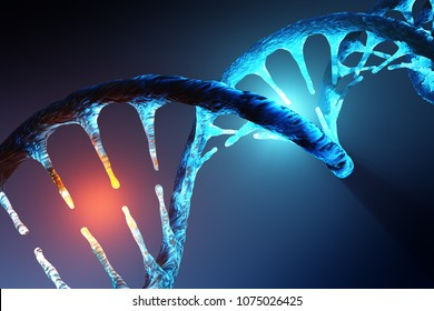 Conceptual image of human DNA illustrating targeted alteration, manipulation or modification. 3D rendering artwork