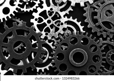 Conceptual image of industry, mecanics, connection or team work. Background from different metal gears.