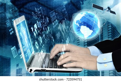 Conceptual image of internet software and data programming