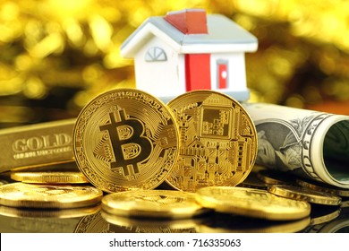 Conceptual image for investors in cryptocurrency (new virtual money), gold, real estate and dollars.