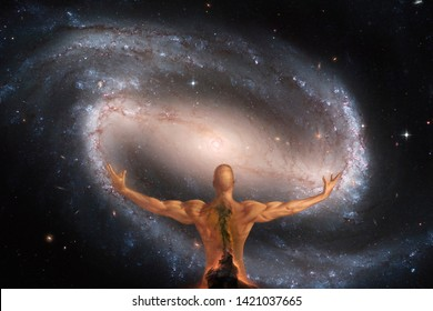Conceptual image involving man, the universe and creation (used some parts of NASA images)