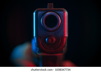 Conceptual image of law enforcement in action. Blue and red lights could be referred as of police flashes