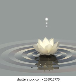 A conceptual image of lotus or water lily on the water emitting light.