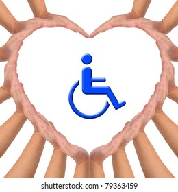 Conceptual image, Love handicapped person. Hands making a heart shape on white background with blue wheelchair icon in the middle.