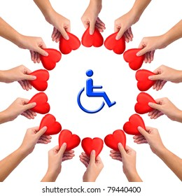 Conceptual image, Love handicapped person. Hands with hearts isolated on white with blue wheelchair icon in the middle.