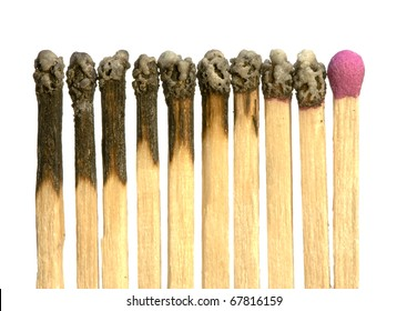 Conceptual image of many burnt matches plus an unused one left, suitable for representing the consumption of non-renewable energy and the shortage of remaining resources.