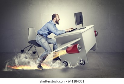 conceptual image, methaphor of busy and fast business, man with airplane desk