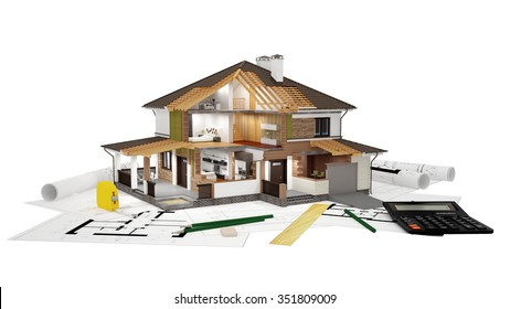 A conceptual image of a modern cottage with furniture, three-dimensional models and drawings