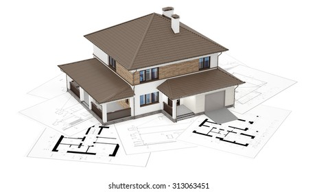 A conceptual image of a modern cottage, three-dimensional models and drawings