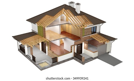 A conceptual image of a modern cottage, three-dimensional model