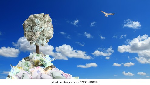 conceptual image of money tree in money pile over sunny blue sky with flying bird